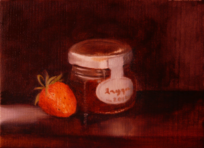 daily painting pot à la fraise