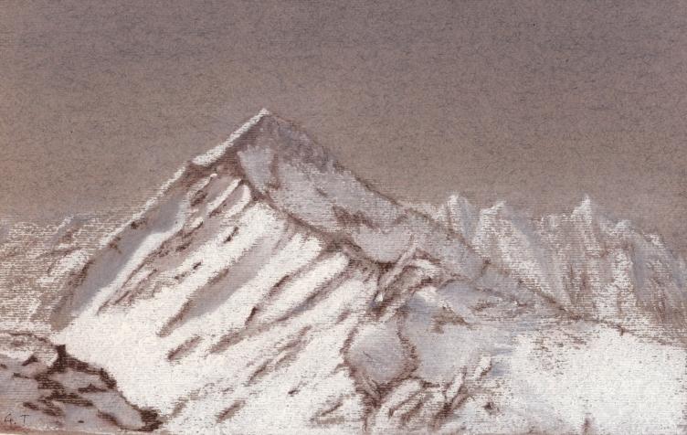 montagne sepia et craie